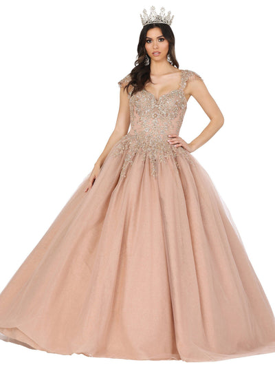 Lace Applique Cap Sleeve Ball Gown by Dancing Queen 1470