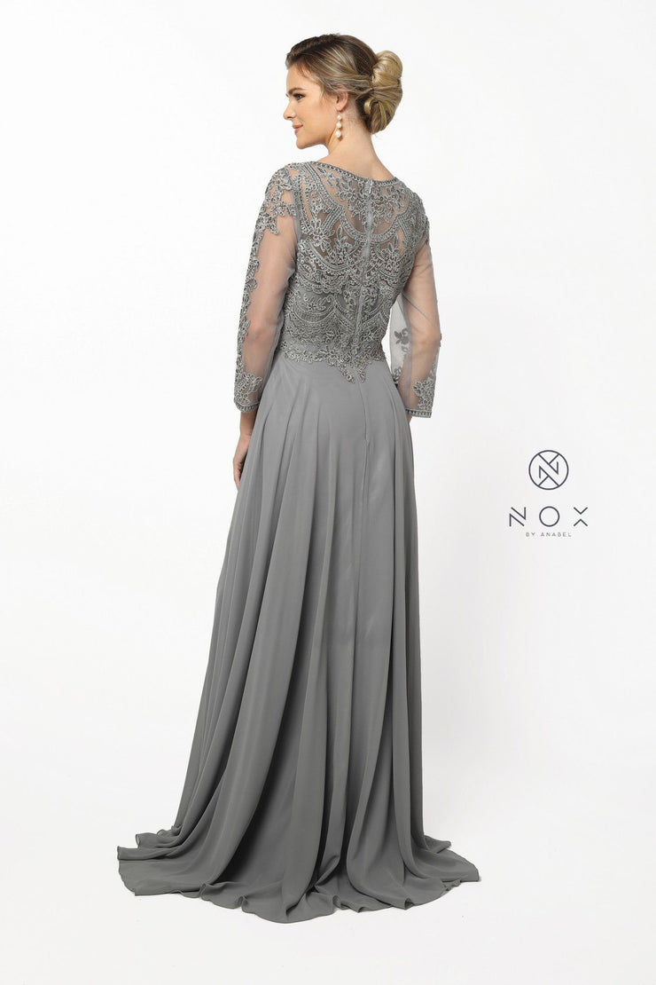 Lace Applique Chiffon Gown with Long Sleeves by Nox Anabel Y513-Long Formal Dresses-ABC Fashion