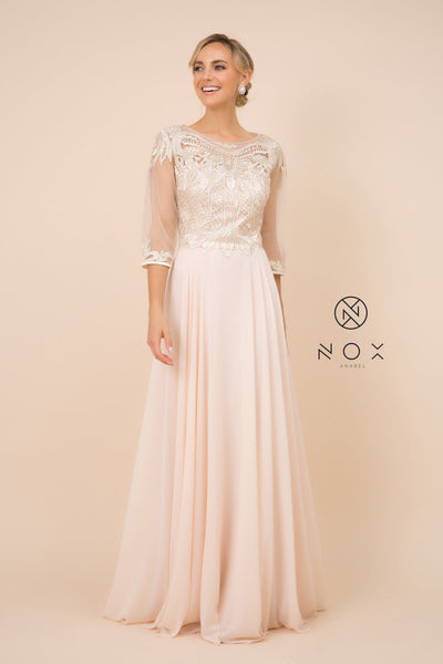 Lace Applique Chiffon Gown with Mid-Sleeves by Nox Anabel Y512