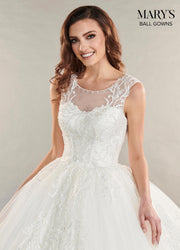 Lace Applique Glitter Wedding Dress by Mary's Bridal MB6054-Wedding Dresses-ABC Fashion