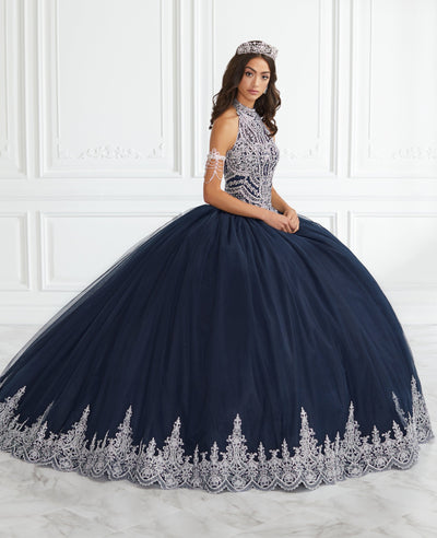 Lace Applique High-Neck Quinceanera Dress by Fiesta Gowns 56390-Quinceanera Dresses-ABC Fashion