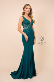 Lace Applique Illusion Mermaid Dress by Nox Anabel J326