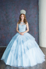 Lace Applique Illusion Quinceanera Dress by Calla KY75208X