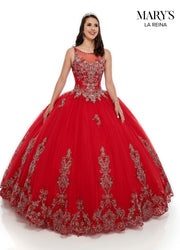 Lace Applique Illusion Quinceanera Dress by Mary's Bridal MQ2097-Quinceanera Dresses-ABC Fashion