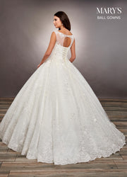 Lace Applique Illusion Wedding Dress by Mary's Bridal MB6065-Wedding Dresses-ABC Fashion