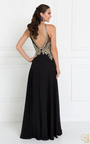 Black Long Open Back Chiffon Dress by Elizabeth K GL1526-Long Formal Dresses-ABC Fashion