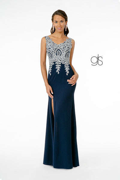 Lace Applique Long Fitted V-Neck Dress by Elizabeth K GL1839