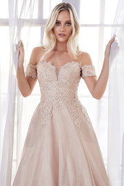 Lace Applique Long Off Shoulder Dress by Cinderella Divine CD908