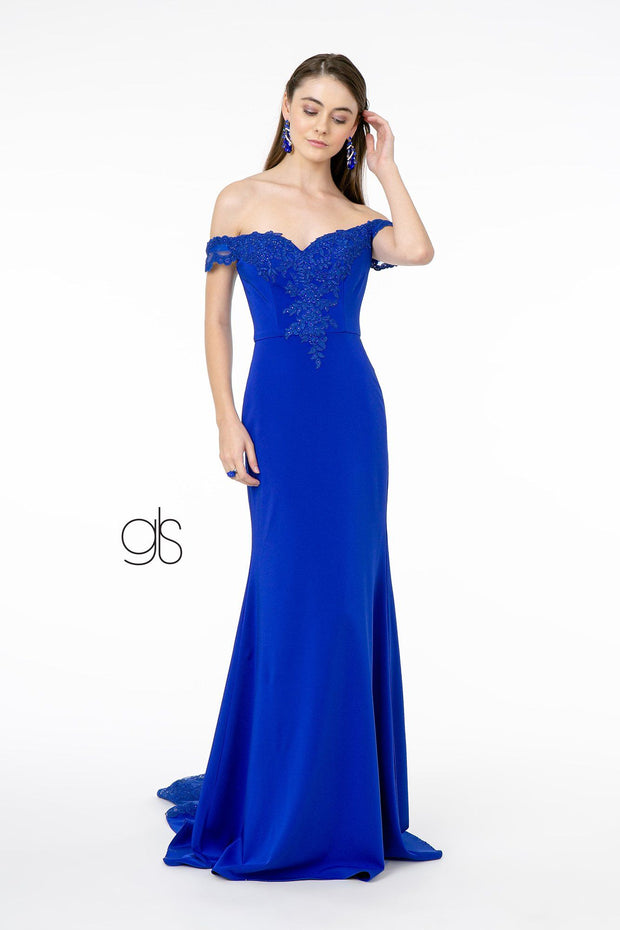 Lace Applique Long Off Shoulder Dress by Elizabeth K GL2958