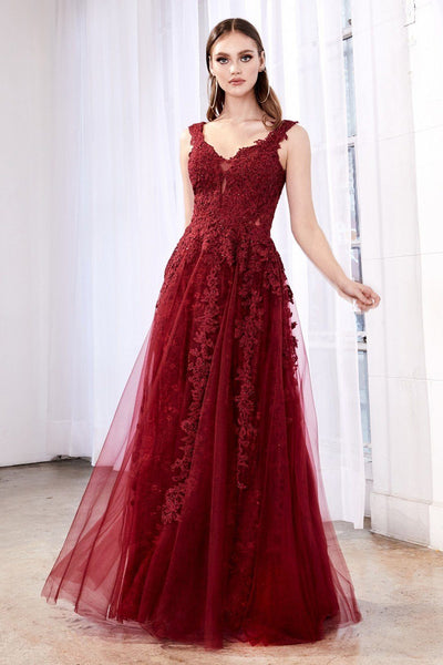 Lace Applique Long Tulle Dress by Cinderella Divine CD4091