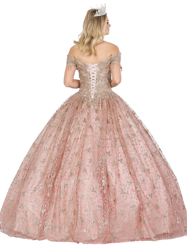 Lace Applique Off Shoulder Ball Gown by Dancing Queen 1444