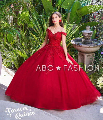 Lace Applique Off Shoulder Quinceanera Dress by Forever Quince FQ812-Quinceanera Dresses-ABC Fashion