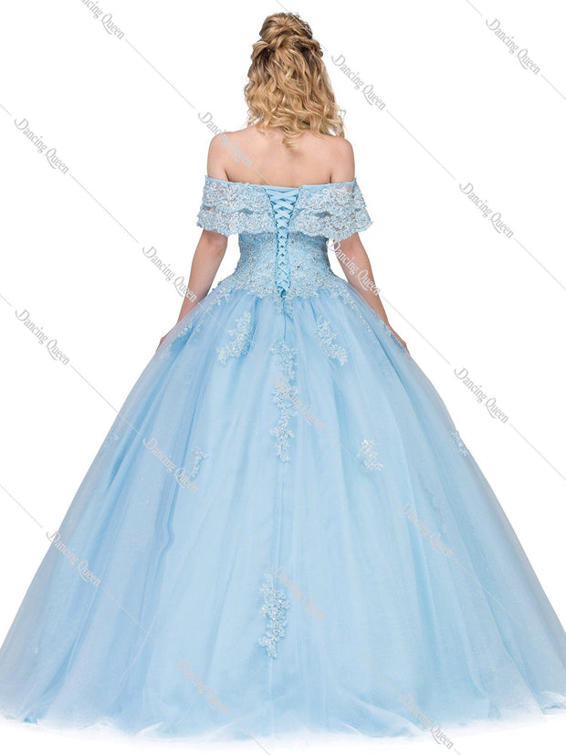 Lace Applique Off the Shoulder Ball Gown by Dancing Queen 1275-Quinceanera Dresses-ABC Fashion