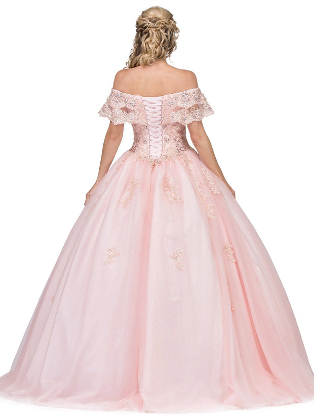 Lace Applique Off the Shoulder Ball Gown by Dancing Queen 1275