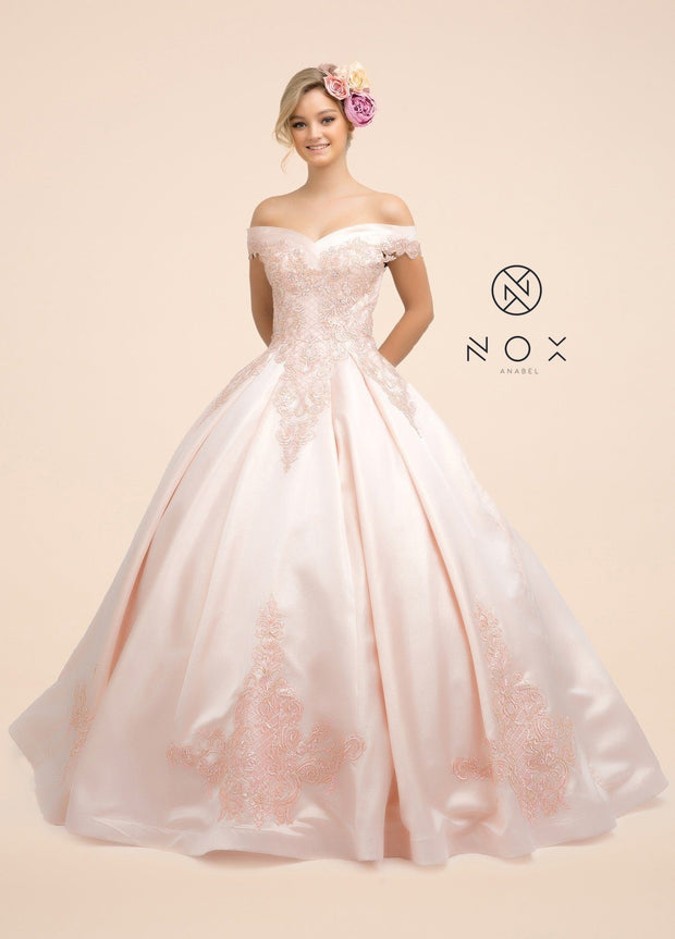 Lace Applique Off the Shoulder Ball Gown by Nox Anabel U802