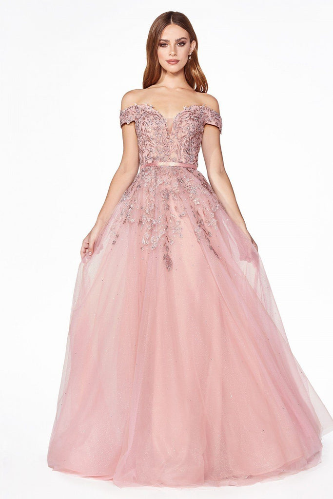 Cinderella Divine CJ520 Evening Dress Prom Dress tulle gown beaded lace Mauve