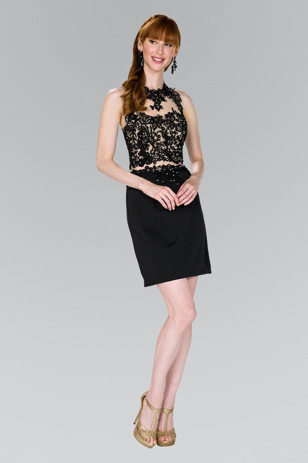 Lace Applique Short Black Dress by Elizabeth K GS2402-Short Cocktail Dresses-ABC Fashion