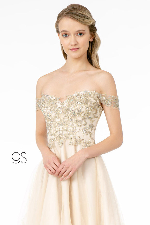 Lace Applique Short Off Shoulder Dress by Elizabeth K GS2862