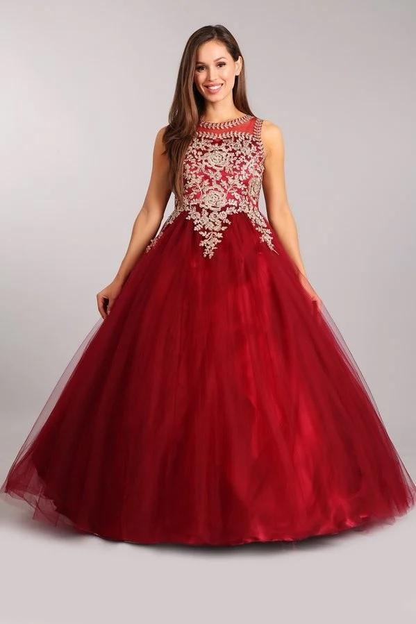 Lace Applique Sleeveless Ball Gown by Cinderella Couture 5041