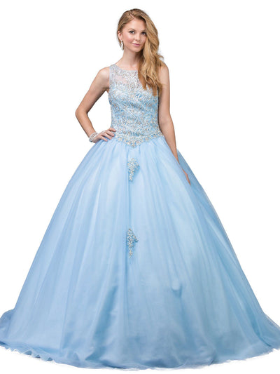 Lace Applique Sleeveless Illusion Ball Gown by Dancing Queen 1220-Quinceanera Dresses-ABC Fashion