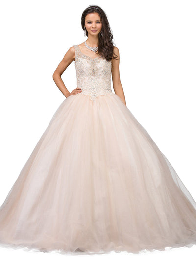 Lace Applique Sleeveless V-Neck Ball Gown by Dancing Queen 1201-Quinceanera Dresses-ABC Fashion