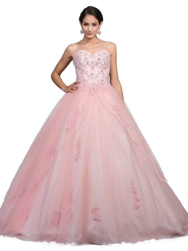 Lace Applique Strapless Ball Gown by Dancing Queen 1224-Quinceanera Dresses-ABC Fashion