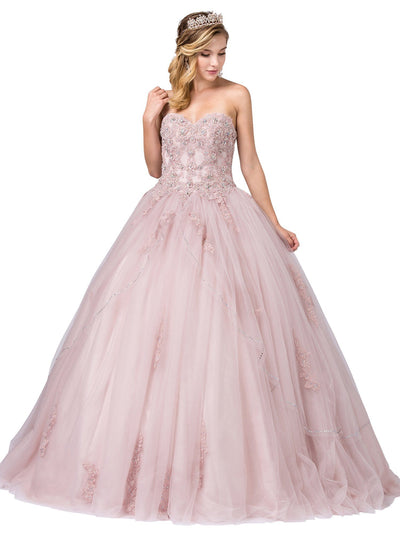 Lace Applique Strapless Ball Gown by Dancing Queen 1224
