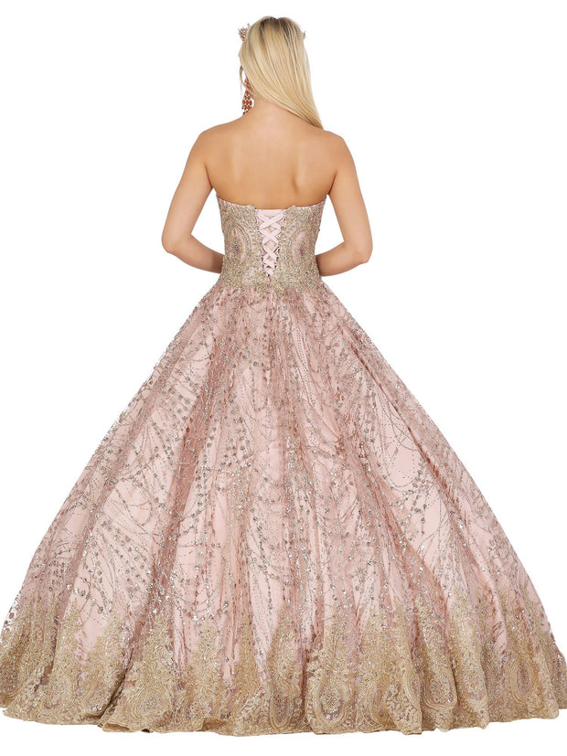 Lace Applique Strapless Glitter Ball Gown by Dancing Queen 1488