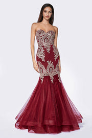 Lace Applique Strapless Mermaid Gown by Cinderella Divine 9179-Long Formal Dresses-ABC Fashion