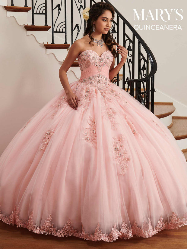 Lace Applique Strapless Quinceanera Dress by Mary's Bridal MQ2036