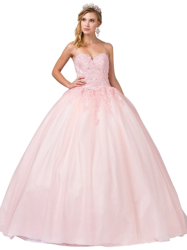 Lace Applique Strapless Sweetheart Ball Gown by Dancing Queen 1337