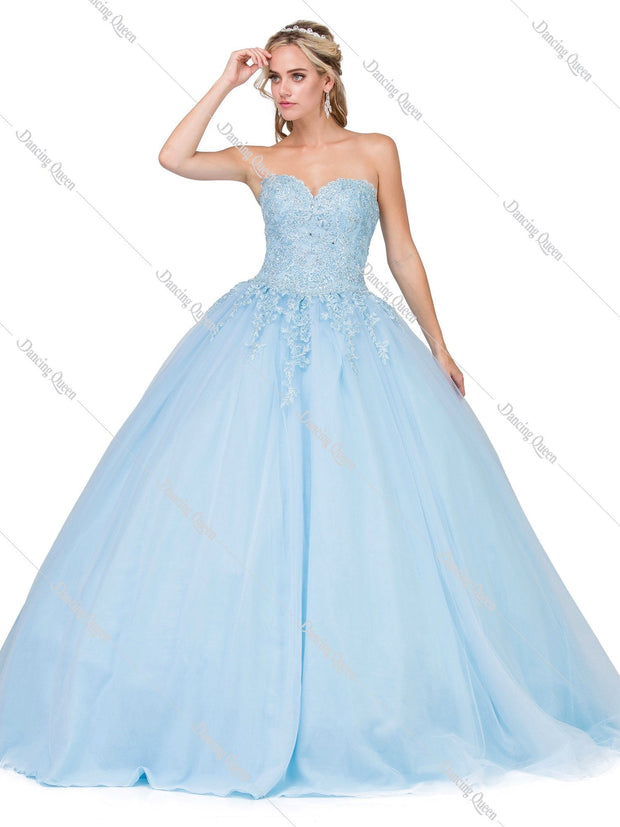 Lace Applique Strapless Sweetheart Ball Gown by Dancing Queen 1337-Quinceanera Dresses-ABC Fashion