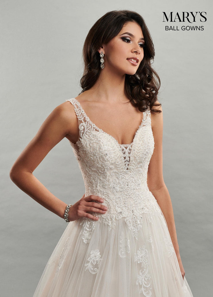 Lace Applique V-Neck Wedding Dress by Mary's Bridal MB6047-Wedding Dresses-ABC Fashion