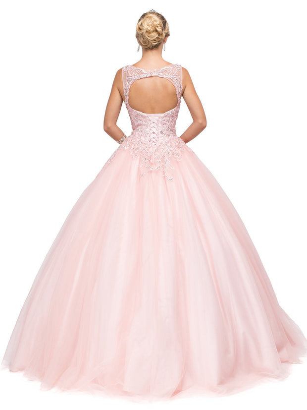 Lace Appliqued Sleeveless Ball Gown by Dancing Queen 1142-Quinceanera Dresses-ABC Fashion