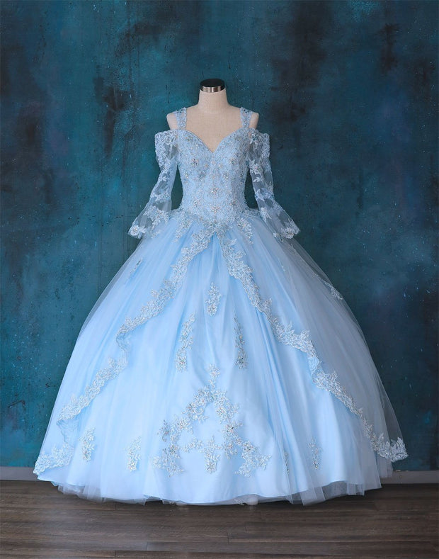 Lace Bell Sleeve Quinceanera Dress by Calla KY70029