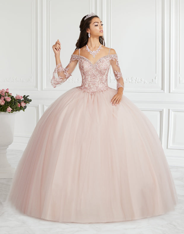 Lace Bell Sleeve Quinceanera Dress by Fiesta Gowns 56385-Quinceanera Dresses-ABC Fashion