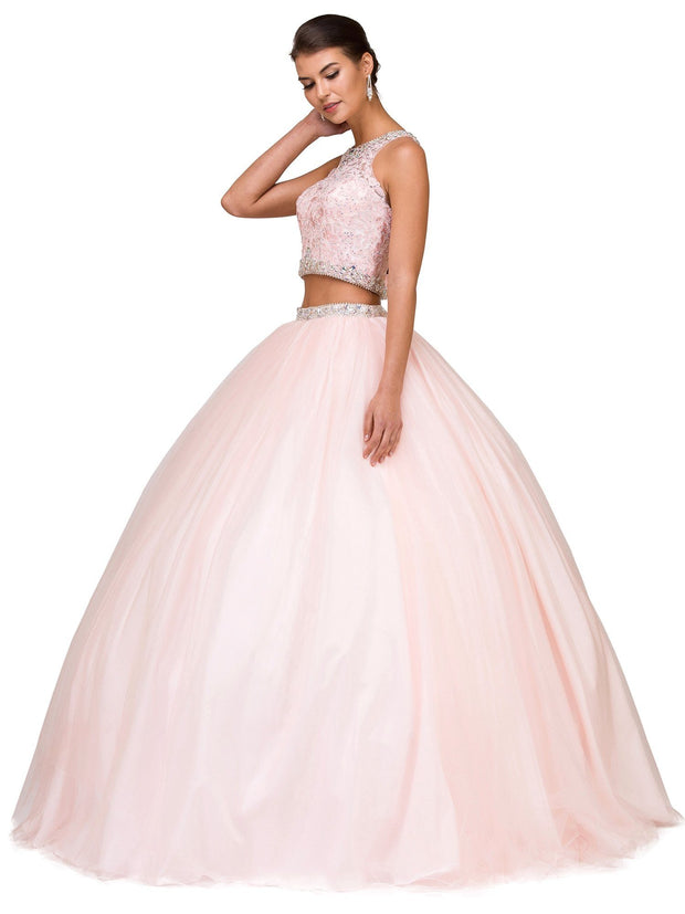 Lace Bodice Crop Top Two-Piece Ball Gown by Dancing Queen 1170-Quinceanera Dresses-ABC Fashion