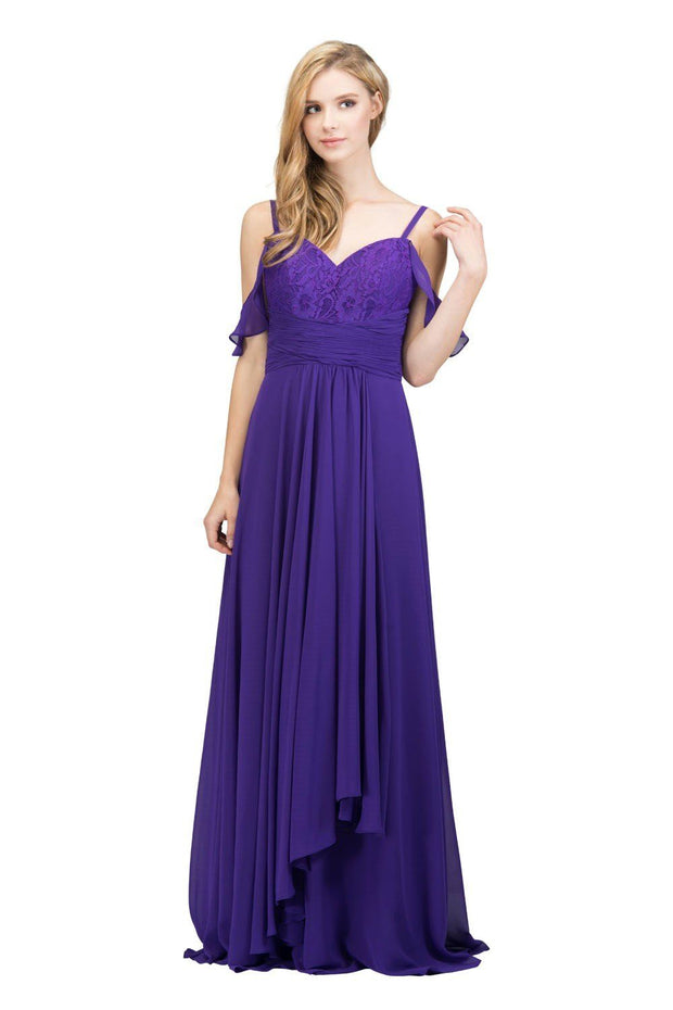 Lace Bodice Long Cold Shoulder Dress with Corset Back by Star Box 81018-Long Formal Dresses-ABC Fashion