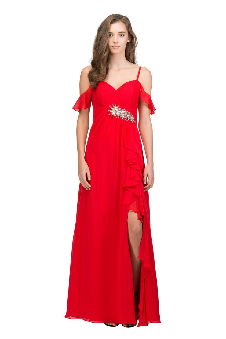 Lace Bodice Long Cold Shoulder Dress with Slit by Star Box 81020-Long Formal Dresses-ABC Fashion
