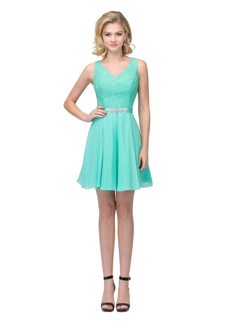 Lace Bodice Short V-Neck Dress with Chiffon Skirt by Star Box 6149-Short Cocktail Dresses-ABC Fashion