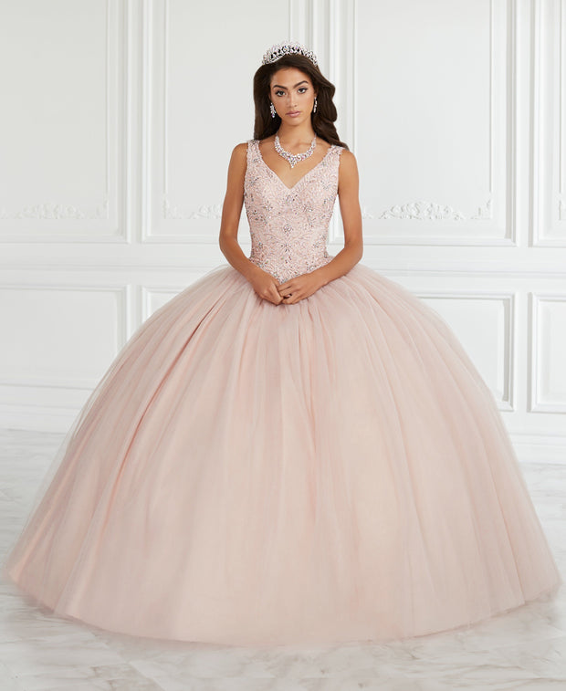 Lace Bodice V-Neck Quinceanera Dress by Fiesta Gowns 56389-Quinceanera Dresses-ABC Fashion