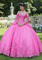 Lace Cold Shoulder Quinceanera Dress by Mori Lee Vizcaya 89270-Quinceanera Dresses-ABC Fashion