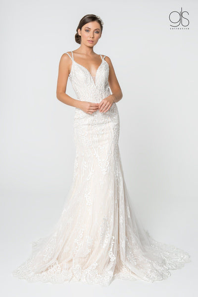Lace Illusion Deep V-Neck Wedding Gown by Elizabeth K GL2820-Wedding Dresses-ABC Fashion
