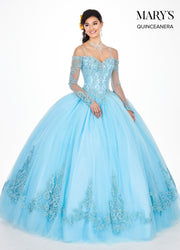 Lace Quinceanera Dress with Long Sleeves by Mary's Bridal MQ2060-Quinceanera Dresses-ABC Fashion
