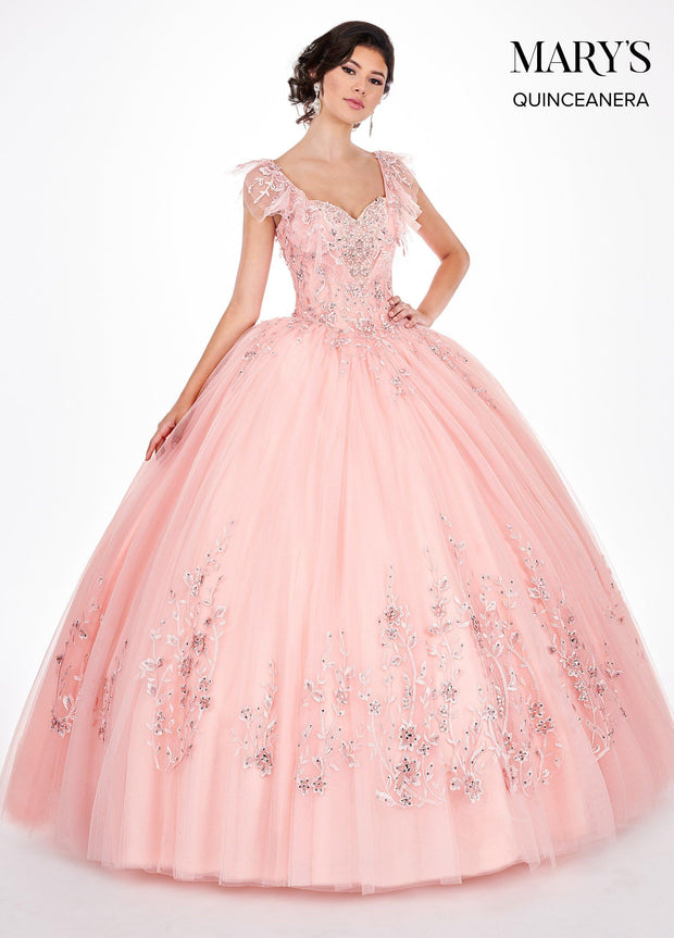 Lace Quinceanera Dress with Ruffled Short Sleeves by Mary's Bridal MQ2064-Quinceanera Dresses-ABC Fashion