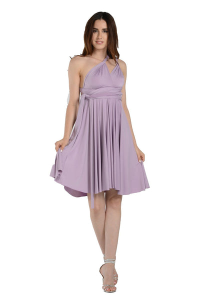 Lavender Short Convertible Jersey Dress by Poly USA-Short Cocktail Dresses-ABC Fashion