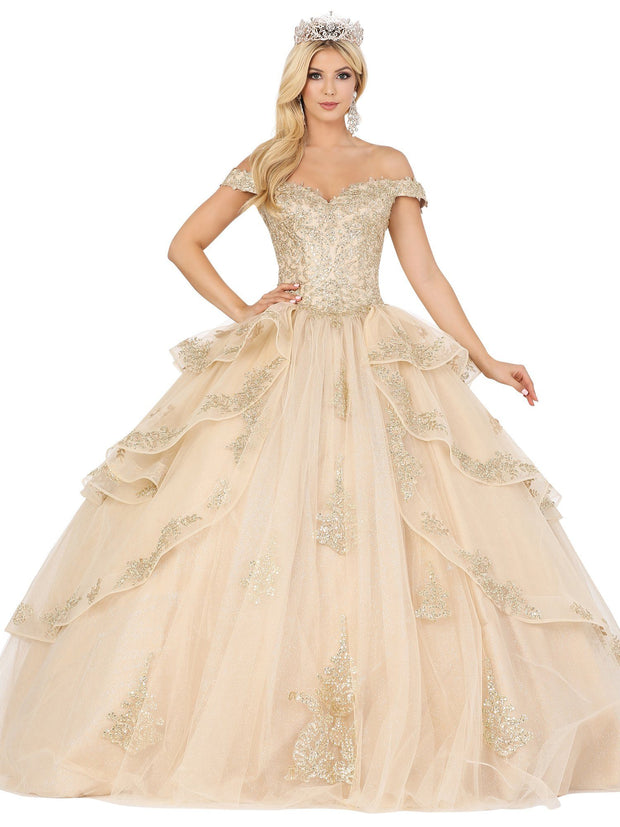 Layered Applique Off Shoulder Ball Gown by Dancing Queen 1505