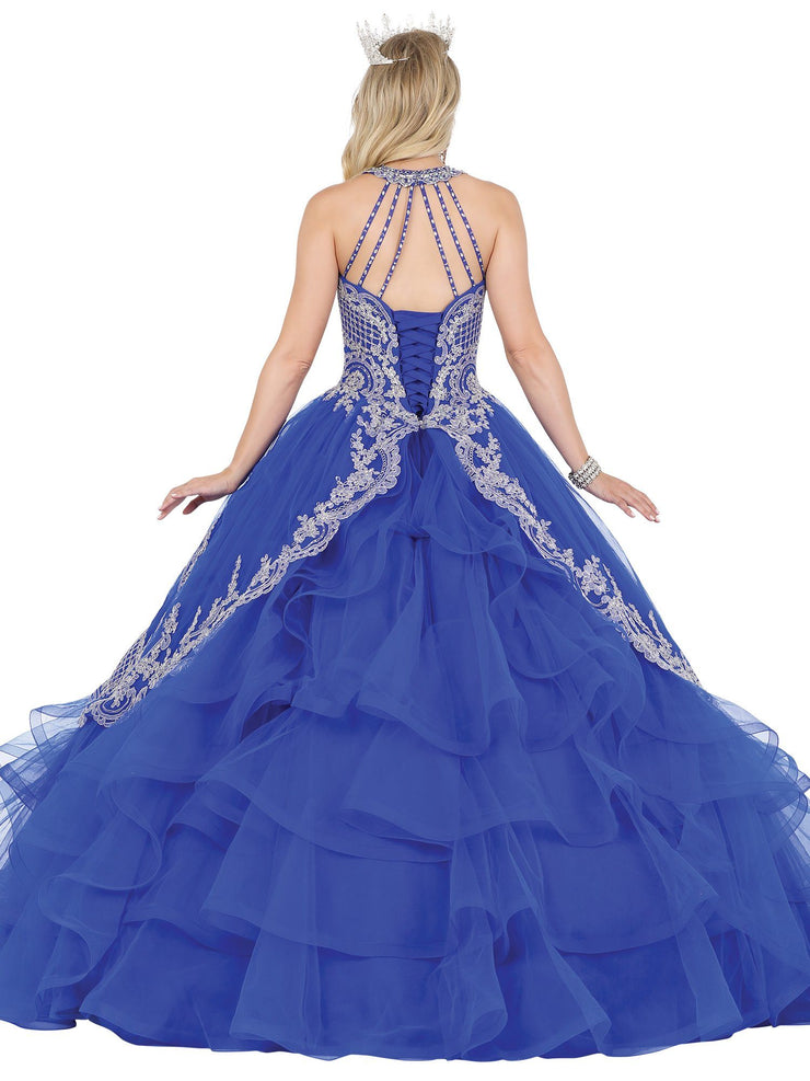 Layered High-Neck Illusion Ball Gown by Dancing Queen 1534