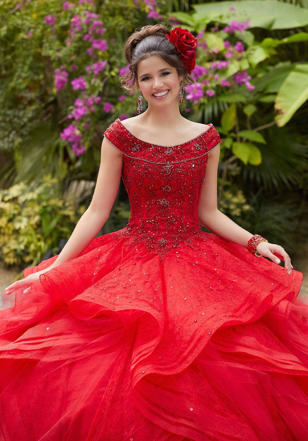 Layered Lace Quinceanera Dress by Mori Lee Valentina 34035