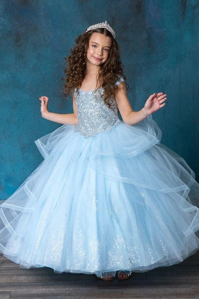 Girls Layered Off Shoulder Ball Gown by Calla SY138